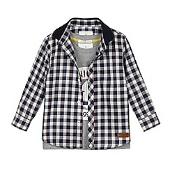 J by Jasper Conran - Boys' navy check shirt and t-shirt set