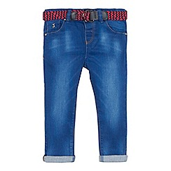 J by Jasper Conran - Boys' blue mid wash jeans with zig zag woven belt