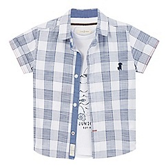 J by Jasper Conran - Boys' blue checked print shirt and seagull print t-shirt set