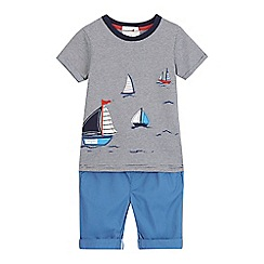 J by Jasper Conran - Boys' navy boat applique t-shirt and shorts set