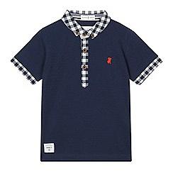 J by Jasper Conran - Boys' navy checked trim polo shirt