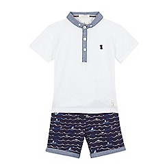 J by Jasper Conran - Boys' white nautical print polo shirt and shorts set
