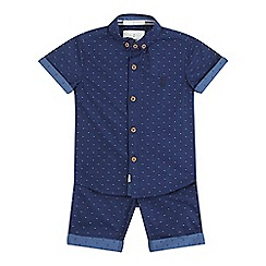 J by Jasper Conran - Boys' navy textured spot shirt and shorts set