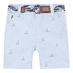 J by Jasper Conran - Boys' light blue boat print belted shorts