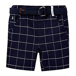 J by Jasper Conran - Boys' navy grid checked print belted shorts