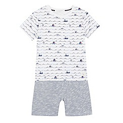 J by Jasper Conran - Boys' white nautical print t-shirt and shorts set