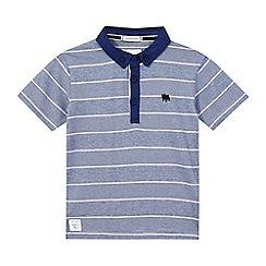 J by Jasper Conran - Boys' navy fine striped print polo shirt