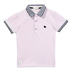 J by Jasper Conran - Boys' pink textured collar polo shirt