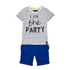 RJR.John Rocha - Boys' bright blue 'I am the party' t-shirt and shorts set