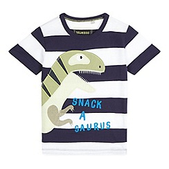 bluezoo - Boys' navy striped dinosaur applique t-shirt