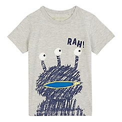 bluezoo - Boys' grey 'Rah' alien print t-shirt