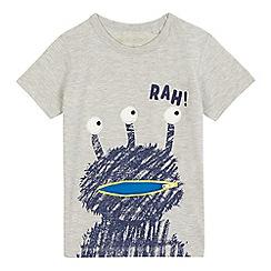 bluezoo - Boys' grey 'Rah' alien print t-shirt