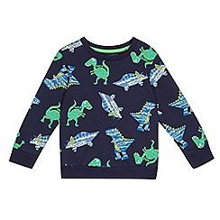 bluezoo - Boys' navy dinosaur print sweater