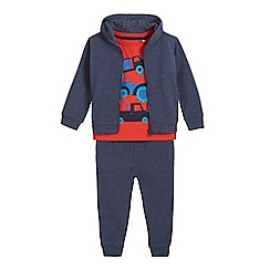 bluezoo - Boys' red vehicle print t-shirt, hoodie and joggers set