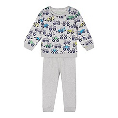 bluezoo - Boys' grey digger print sweater and jogging bottoms set
