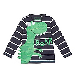 bluezoo - Boys' dark grey striped dinosaur print top