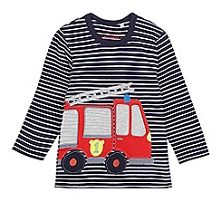 bluezoo - Boys' navy striped print firetruck applique top