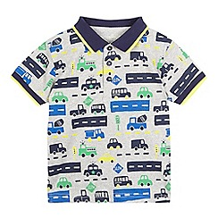 bluezoo - Boys' grey vehicle print polo shirt