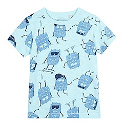bluezoo - Boys' light blue monster print t-shirt