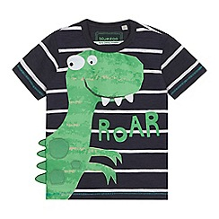 bluezoo - Boys' dark grey striped dinosaur print t-shirt