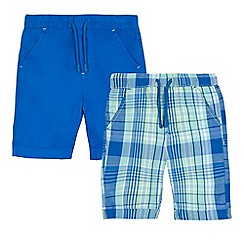 bluezoo - Pack of two boys' green checked print and blue shorts
