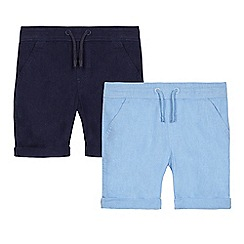 bluezoo - Pack of two boys' light blue and navy shorts