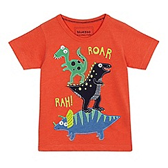 bluezoo - Boys' orange dinosaur applique t-shirt