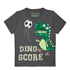 bluezoo - Boys' dark grey dinosaur football applique t-shirt