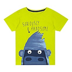 bluezoo - Boys' lime applique gorilla print t-shirt