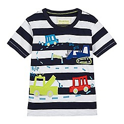 bluezoo - Boys' navy and white striped vehicle applique t-shirt
