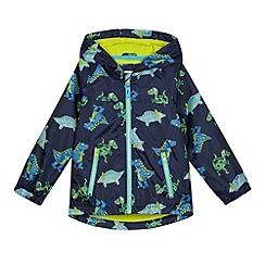 bluezoo - Boys' navy fleece lined dinosaur print jacket