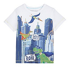 bluezoo - Boys' white 'Super-saurus' print t-shirt