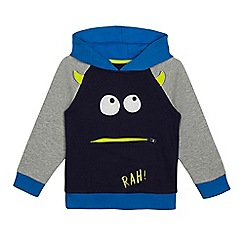 bluezoo - Boys' blue and grey monster applique hoodie