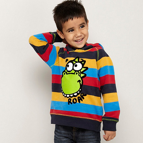 bluezoo - Boy+s blue striped dinosaur printed hoodie
