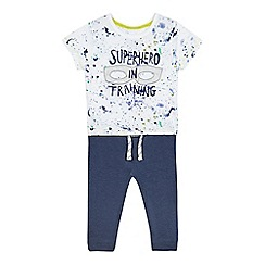 bluezoo - Boys' white 'Superhero in training' t-shirt and navy jogging bottoms set