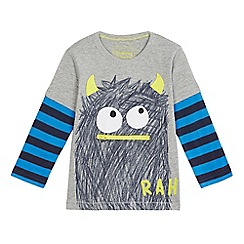 bluezoo - Boys' grey long sleeve monster print shirt