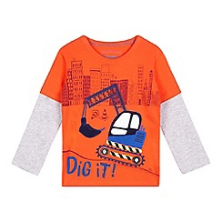 bluezoo - Boys' red digger applique top