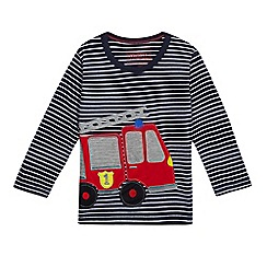 bluezoo - Boys  navy striped firetruck long sleeve t-shirt