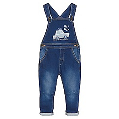 bluezoo - Boys' blue car embroidered denim dungarees