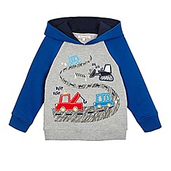 bluezoo - Boys' grey and blue transport applique hoodie