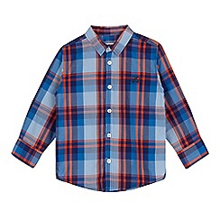 bluezoo - Boys' blue and orange checked print shirt