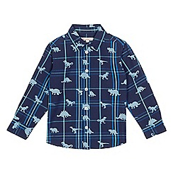 bluezoo - Navy checked dinosaur print shirt