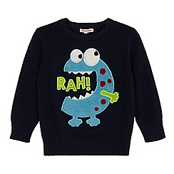 bluezoo - Boys' navy textured monster jumper
