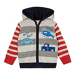bluezoo - Boys' grey striped vehicle applique zip through hooded cardigan
