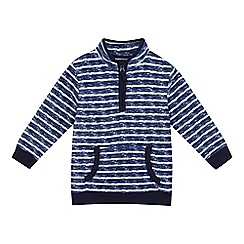 bluezoo - Boys' blue and white striped print fleece sweater