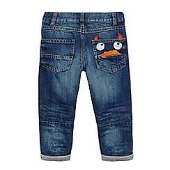 bluezoo - Boys' blue monster applique pocket jeans