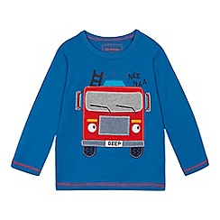 bluezoo - Boys' blue fire engine applique t-shirt