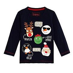 bluezoo - Boys' navy Christmas applique top