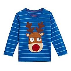 bluezoo - Boys' striped print reindeer applique top