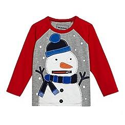 bluezoo - Boys' grey snowman applique top